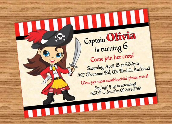 pirate girl personalized pdf or jpg printable pirate party