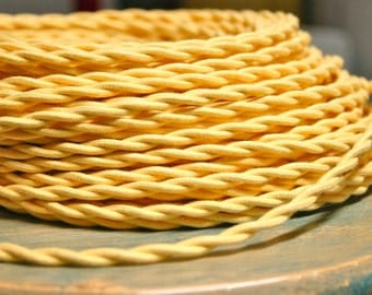 6 Feet: Yellow Twisted Cloth Covered Wire, Vintage Style Cloth Lamp Cord, For Hanging Pendants, Trouble Lights etc