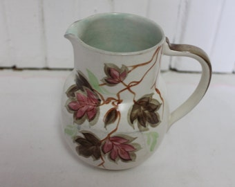 Vintage English Radnor Handpainted Pitcher Brown Leaves
