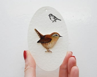Hand- drawn Wren, bird brooch.
