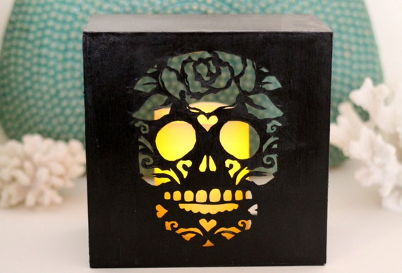 Items similar to Day Of the Dead Sugar Skull Luminary Cut ...