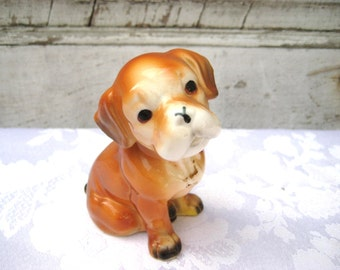 Adorable puppy statue, dog figurine, collectible puppy,  bone china, light brown