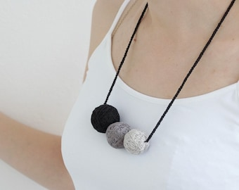 Black and gray short beaded necklace balls thread cotton for women fiber natural summer