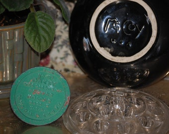 Terrific Vintage Black McCoy Bowl with Dazey Planter and Glass Flower Frog