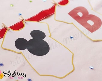 Baby Mickey Onsie Banner