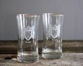 Vintage Set of Crest Emblem Highball Drinking Glasses