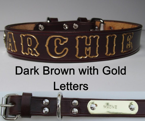 Custom Dark Brown Leather Dog Collar-Free Embossing & Free Brass tag