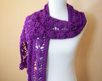Crocheted Purple / Magenta Scarf / Lacy /  Fringed