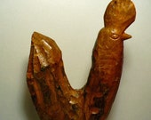 Folk Art, Rooster, Wood, Carved, 1980's, Chicken, Rustic, Primitive, Decor, Coumtry
