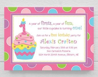 BIRTHDAY INVITATION // Cupcake Sweet First 1st Birthday Party Invitation // Customizable // DIY // Digital File