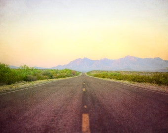 Down Desert Roads - decorative photography print - wall art - home decor - Big Bend National Park dawn photo - multiple sizes available