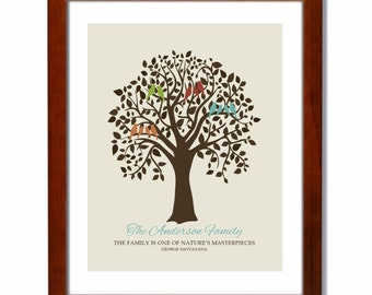 Family Prints Personalized Name Family Tree Love Birds Home Decor Wall Art - 11 x 14 Seafoam Ivory Gray Multi Holiday Gift Guide
