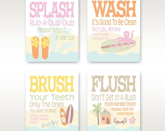 "Childrens Kids Bathroom Art Prints Set of (4) 8"" x 10"" Surf Board Theme // Pretty Pastels // Fine Art Home Decor - Unframed"
