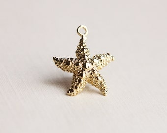 Vermeil Gold Starfish Charm 04 - medium size finely detailed ocean nature sea life pendant
