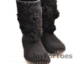 Crochet Women Boots Slippers for the Street Black Romantic Custom Made