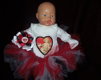 custom made 3pc tutu skirt set NB red and white Victorian heart bottlecap bow