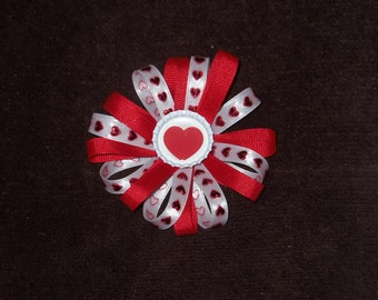 NEW Hearts bottlecap hairbow clip red and white grosgrain and satin alligator clip