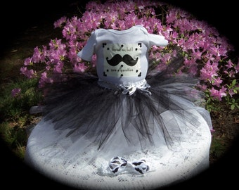 Custom made  Boutique Pageant 3pc Mustache infant tutu set with matching hairbow size 12 month black and white