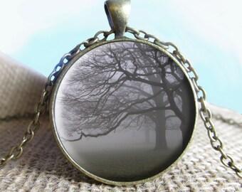 Foggy Trees, Tree Pendant/Necklace Jewelry, Necklace Jewelry, Fog Pendant Gift, Gift, Landscape, Foggy Landscapes, Landscape Jewelry, eerie