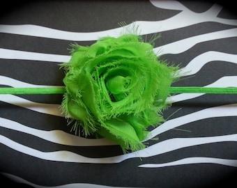 """2.5"""" lime shabby chic rosette headband"""