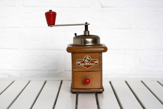 Vintage German Circa 1950s Wooden Coffee Grinder with Red Wooden Accents