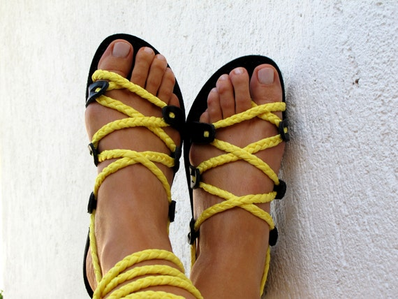 """Lace up Sandals, Custom Color, with braided straps. Handmade strappy sandals.  """"SELENE"""" SES03"""