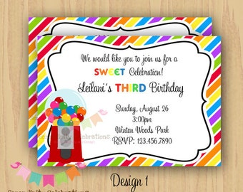 DIY Digital Gumball Invitation -Personalized Invitation by Serendipity Party Shop