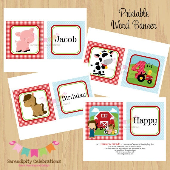 Items Similar To DIY Printable Banner- Farmer And Friends