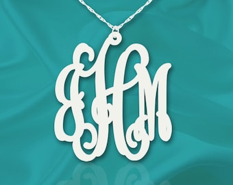 Monogram Necklace 1.5 inch Vine Sterling Silver Handcrafted Personalized Initial Necklace - Made in USA