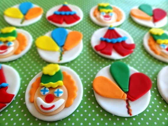 Circus toppers, fondant circus themed cupcake toppers, fondant clown, big top, circus tent, balloons, circus animals, circus cake topper