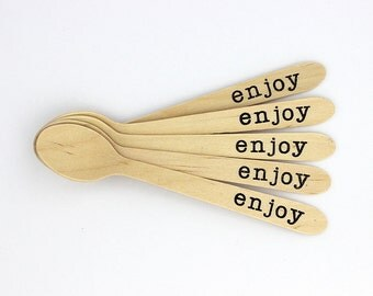 """Hand stamped word """"Enjoy"""" on small disposable wooden spoons - set of 12"""