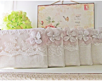 Bridesmaid small lace purse natural linen blend white ivory lace wedding gift