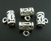3 Bali Style Tube Bead Bail - Silver Tone - 11 x 11mm - Pack of 3 JF22