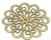 10  - Antique Bronze Filigree Large Flower Connector Wrap Embelishment 6x6cm - Pack of 10
