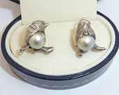 Sterling and Pearl Bird Earrings