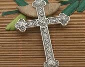 3pcs dark silver tone flower cross pendant h3619