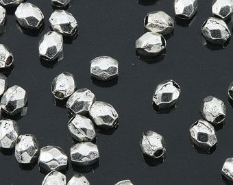 Tibetan Silver color mini irregularfaceted spacer beads 400pcs EF0158