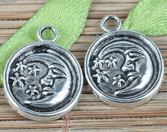 25pcs tibetan silver color round moon star charms EF0274