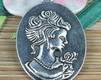 4pcs Tibetan Silver color Lady portrait pendant EF0304