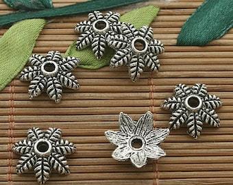 40pcs dark silver tone Leaf petals bead caps h3621