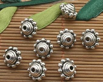 200pcs dark silver tone 9mm spacer beads h3699