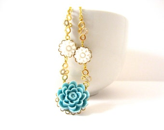 Blue and White Flower Necklace, Cubic Zirconia Bubbles, Resin Flower Jewelry