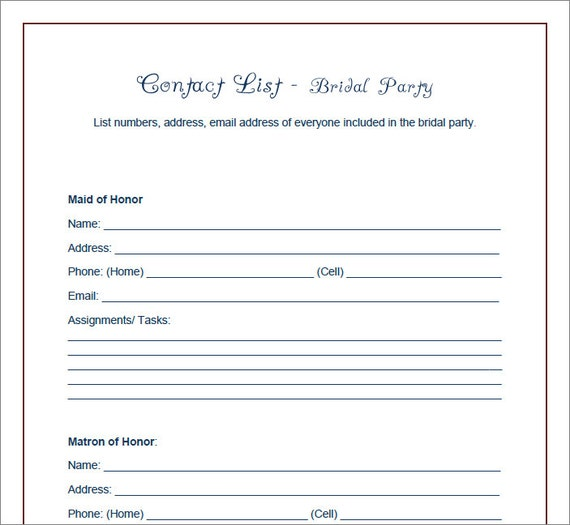 Items similar to Simple Printable Wedding Party Planner Contact – Printable Contact List