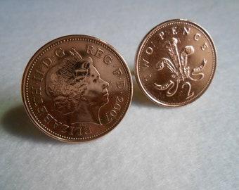 UK Elizabeth II - Two Pence Copper Coin Cufflinks