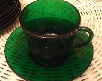 Vintage emerald green  VMC France tea cups and saucers (6 sets) per sale