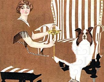 Beautiful In Brown With Her Dog. VINTAGE Digital ILLUSTRATION. Digital Download. Coles Phillips Vintage Print