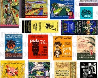COLLAGE Of Classic EXOTIC Matchbooks.  VINTAGE Digital  Download. Vintage Matchbook Illustration. Digital Matchbooks Print