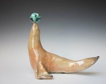 Ceramic Seal Sculpture, Seal Sculpture, Seal balancing ball