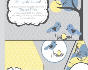 Feather Her Nest Baby Shower Invitation and Decoration