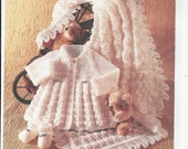 vintage baby knitting pattern for stunning  mattinee set jacket and shoes  blanket shawl size from newborn
